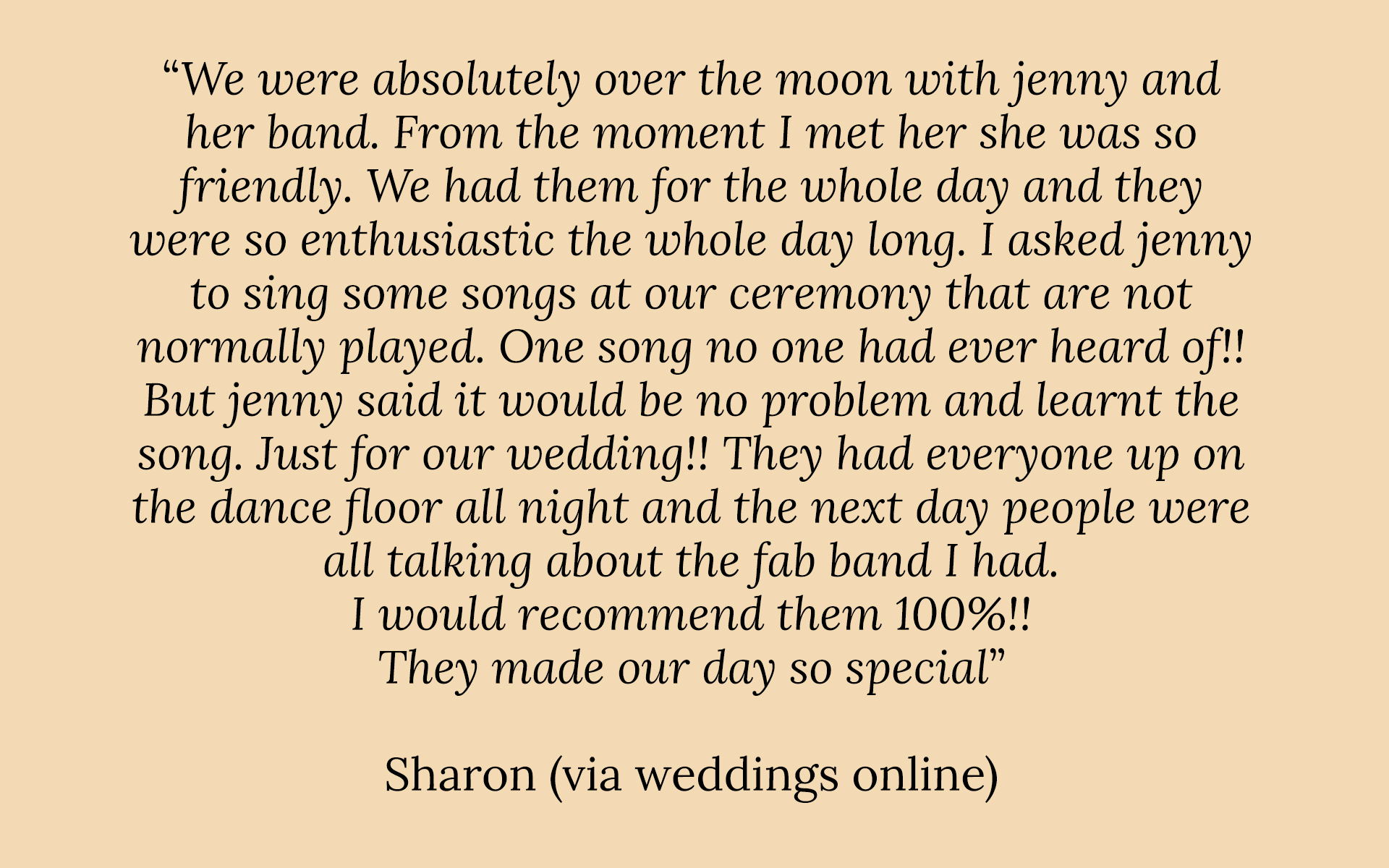A positive review of Jenny O'Donovan - Wedding Singer.