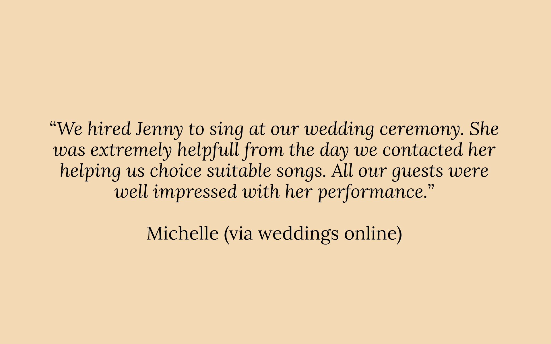 A positive review of Jenny O'Donovan - Wedding Singer